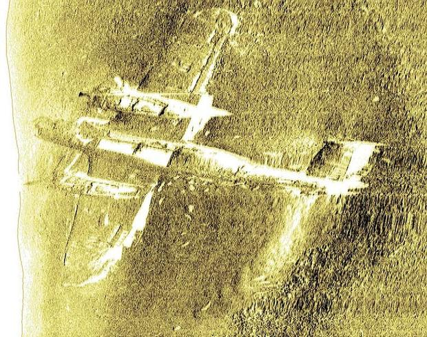 A sonar image shows the wreckage of the only surviving German World War II Dornier Do 17 bomber, lying on the Goodwin Sands in the English Channel.