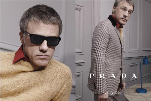Two-time Academy Award winner Christoph Waltz is one of three actors featured in Prada's fall-winter 2013 menswear advertising campaign.