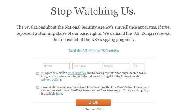 Mozilla and more than 80 other organizations have launched an online campaign demanding Congress reveal more information about the NSA's tracking programs.