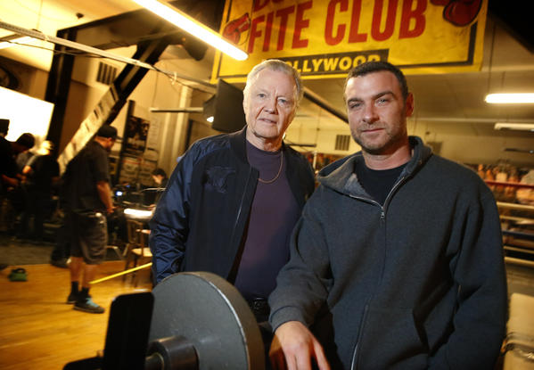 "Jon Voight, left, and Liev Schreiber on the set of Showtime's ""Ray Donovan"" at Sony studios in Culver City. Voight plays the ex-con father of Schreiber, who is a professional ""fixer"" for the rich and famous in L.A."
