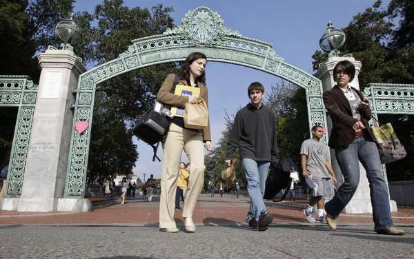 Students walk through Sather Gate at UC Berkeley in 2011.
