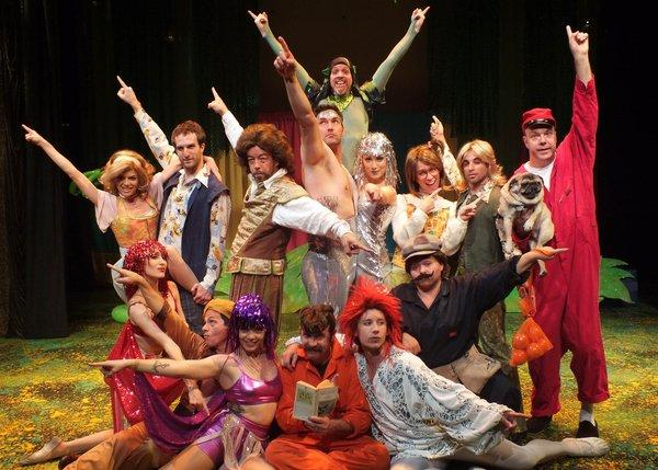 """Matt Walker, top rear, and his multitalented ensemble in its commedia dell'arte-infused mash-up of Shakespeare and 1970s disco, """"A Midsummer Saturday Night's Fever Dream."""""""