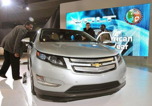 The Chevrolet Volt on display at the Washington Convention Center in D.C. Chevy is trying to spark sales of the Volt with cash-back incentives of up to $5,000.