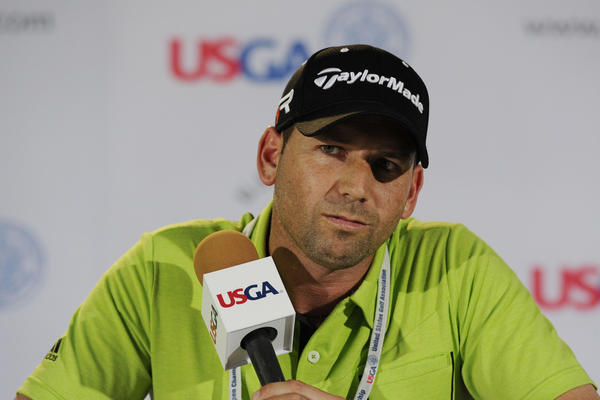 Sergio Garcia addresses the media in a press conference during the practice round of the 113th U.S. Open golf tournament Tuesday.
