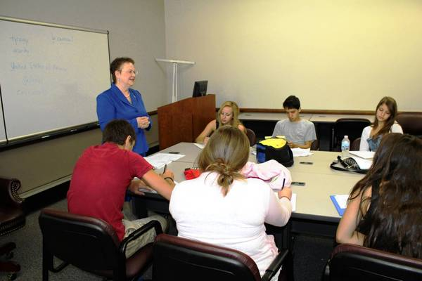 Current City Clerk Gloria J. Ludwig addresses students at last year's Clinical Government Program in Des Plaines.