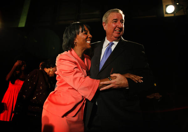 L.A. County Dist. Atty. Jackie Lacey is congratulated on her election victory last year by now-retired Dist. Atty. Steve Cooley.