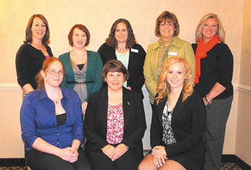 Soroptimist International of Hagerstown recently held its spring awards ceremony, where it honored three local women. Front row, from left, are Jesse Maphis, Janet Lung and Mckenzie Divelbiss. Back row, Sarah Cannady, Justine Keltz, Leigh Hunter, Jerri McNew and Tressa Nicewarner.