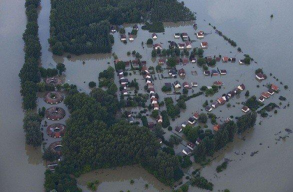 An aerial view Tuesday of the flooding caused by the Danube River at Baja, Hungary, about 100 miles south of Budapest.