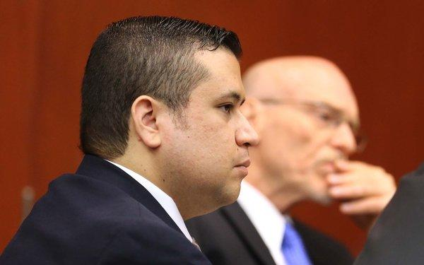 George Zimmerman, left, and defense attorney Don West listen to the questioning of prospective jurors in Seminole circuit court for his trial in Sanford, Fla.