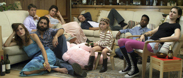 "From left, Kerry Bishe as Lily, Ben McKenzie as Nick, Adrian Grenier as James, Gaby Hoffmann as Laura, Mark Webber as Benji, McKenna Grace as Hannah, Scott Mescudi (aka Kid Cudi) as Lev and Remy Nozik as Ariel in ""Goodbye World."""