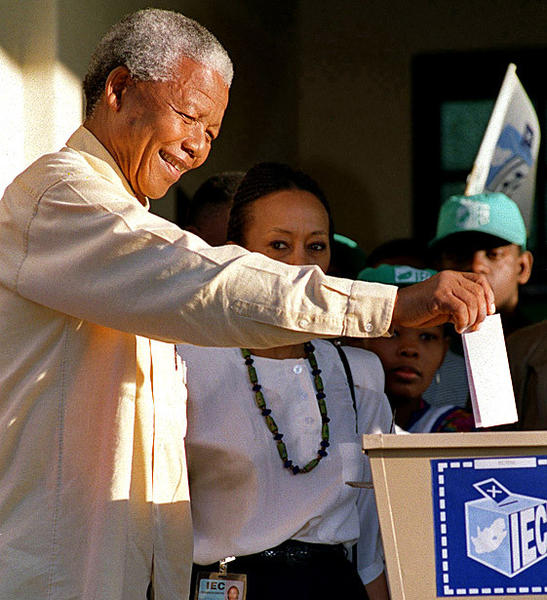 Mandela casts his ballot April 27, 1994, during South Africa's first democratic election, making the first time he Ñ or any black person in the country Ñ had been able to vote.