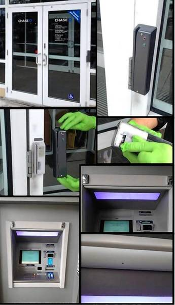 This ATM-skimmer or card-reading device was found on the outside of the Chase bank at 8975 W. Atlantic Blvd. This device was placed directly over the bank's card reader to open the lobby doors and a pin-hole camera was placed on the ATM directly above the keypad to record the victim's PIN number, according to court records.