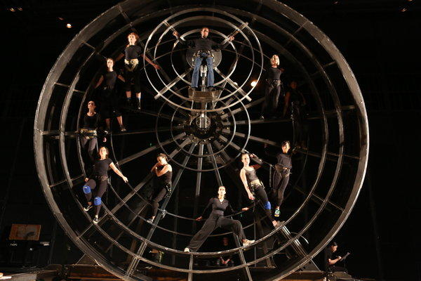 "Actors rehearse in March at CalArts for the production of ""Prometheus Bound"" that will begin Aug. 29 at the Getty Villa. The staging's centerpiece is a five-ton, 23-foot-high steel wheel that will arrive on the Villa's plaza in mid-July."