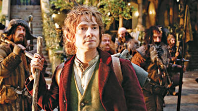 "James Nesbitt as Bofur, Martin Freeman, front, as Bilbo Baggins, Stephen Hunter as Bombur, Graham McTavish as Dwalin, William Kircher as Bifur, and Jed Brophy as Nori in the fantasy adventure ""The Hobbit: An Unexpected Journey,"" a production of New Line Cinema and Metro-Goldwyn-Mayer Pictures (MGM), released by Warner Bros. Pictures and MGM. (MCT) ORG XMIT: 1131847"