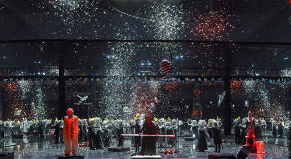 "A scene from Achim Freyer's production of the ""Ring"" cycle at the National Theater Mannheim in Germany."