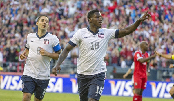 Eddie Johnson celebrates his goal with Clint Dempsey, left, during Team USA's 2-0 victory over Panama in a World Cup qualifying match in Seattle on Tuesday.