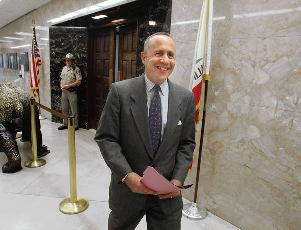 "Senate leader Darrell Steinberg is all smiles as he leaves the governor's office after a budget meeting with Jerry Brown and Assembly Speaker John Perez. Steinberg said Democratic leaders are closing in on a budget deal ""that I think accomplishes all of the things that we have sought to accomplish."""