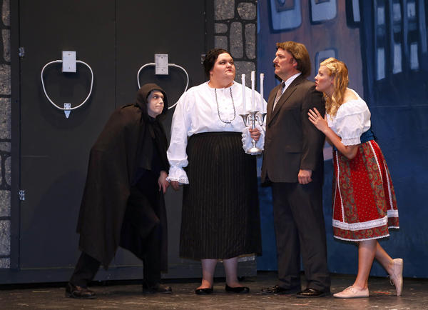 The cast of Young Frankenstein includes, from left, Eli Corbett, Kellyanne Kirkland, Courtney Rott Jr. and Yvonne Freese.