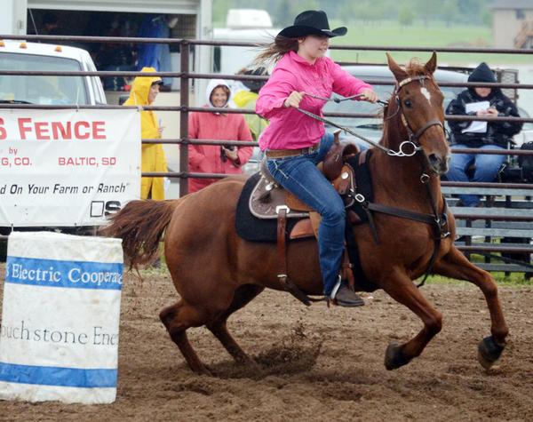 Barrel racer Emma Lutter of Zell competes at last weekend's South Dakota high school regional rodeo in Watertown.