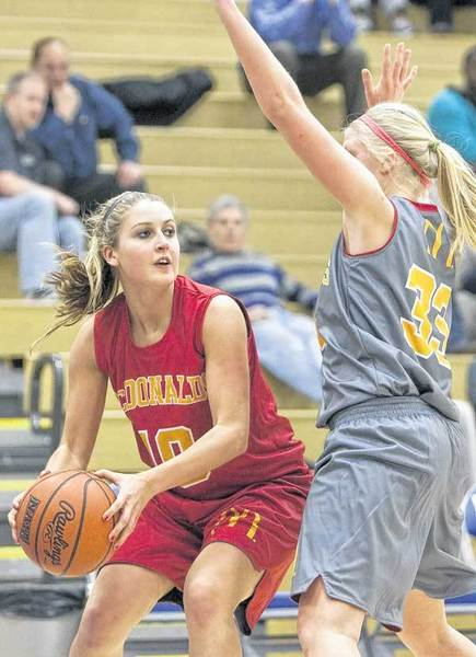 Former Penn High School guard Taylor Lutz, left, isnt worried about scoring points in her role as a member of the Indiana High School girls senior all-star team.