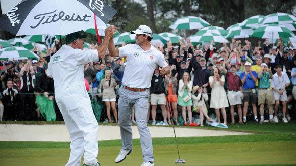 Adam Scott of Australia celebrates after he sinks a birdie putt on the 18th during the fourth round of the 77th Masters Golf Tournament at Augusta National Golf Club in April.