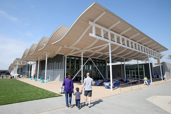 A family explores Newport Beach's new Civic Center and Park on May 4.