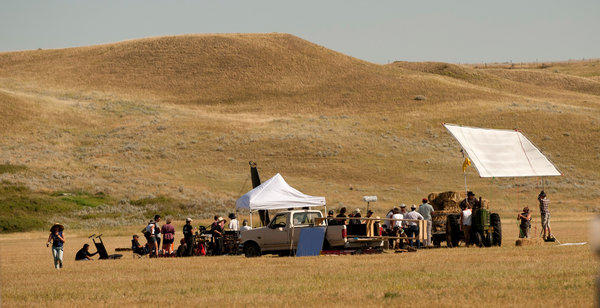 "A film crew shoots a scene for ""Winter in the Blood,"" a Montana-made feature which received a cash grant from the state."