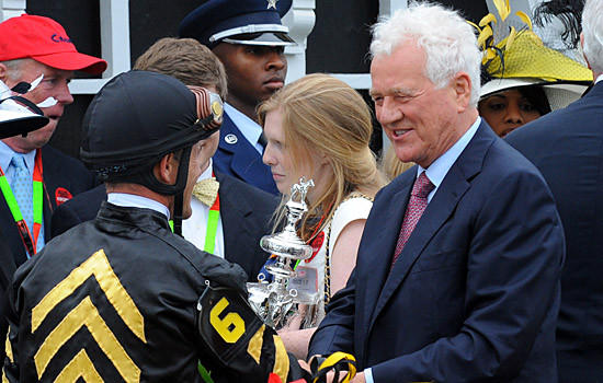 Baltimore, Md.--5/18/13--Pimlico owner Frank Stronach, shown here after the 2013 Preakness, has built a strong relationship with Breeders' Cup leaders.