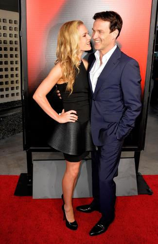 """Stars Anna Paquin and her real-life husband, Stephen Moyer, attend """"True Blood's"""" season 6 premiere."""