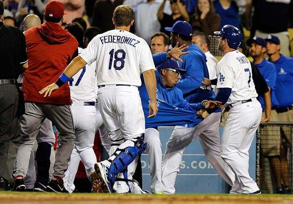 The Dodgers and Diamondbacks fought on the field at Dodger Stadium after several batters were hit by pitches.