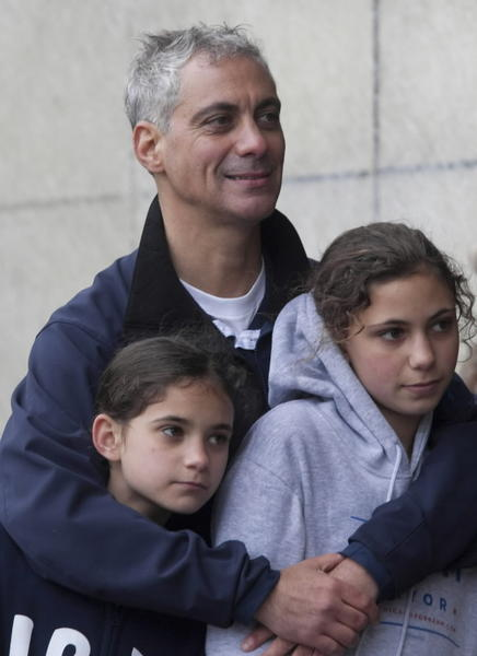 Mayor Rahm Emanuel, seen here with daughters Leah, left, and Ilana, in May 2011.