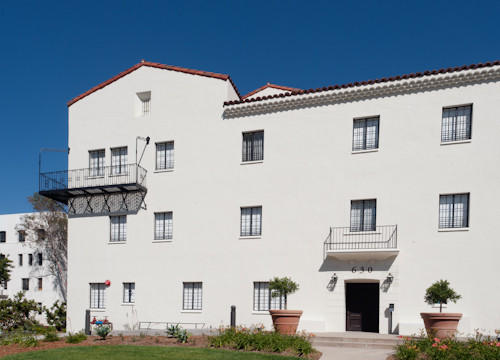 The former nurses' dormitory at defunct Linda Vista Community Hospital in Boyle Heights has been converted to senior housing.