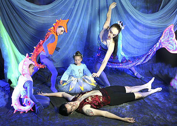 "In the Chambersburg Ballet Theatre production of ""The Little Mermaid,"" Marina Addlesberger, top right, dances the title role and Peter Doll, below right, dances the role of the Prince. CBT students perform as seahorses, starfish and other characters."