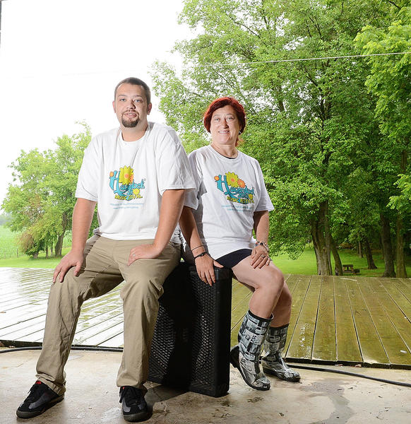DJ Allen, left, and Izzi Sevco are event coordinators for Hagerstock, a music festival held this weekend on the Breezy Acres Herbst Farm near Hagerstown.