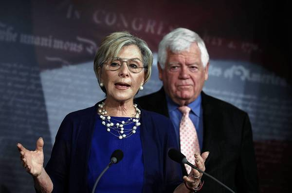 Sen. Barbara Boxer (D-Calif.) and Rep. Jim McDermott (D-Wash.) announce their proposed Pay Your Bills or Lose Your Pay Act, aimed at pressuring Congress to raise the debt limit.