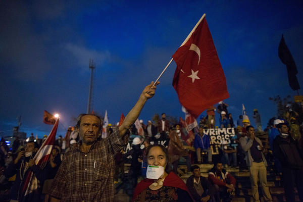 Protesters gather in Taksim Square, Istanbul, after a police crackdown.