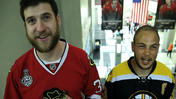 Video: Hawks, Bruins fans at United Center