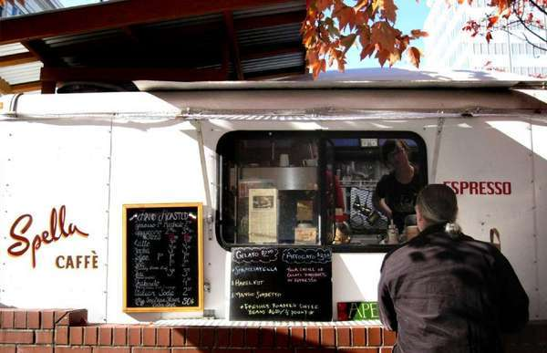 The corner of SW 9th Avenue and SW Alder Street is known as a food cart mecca. Its vendors have included Spella Caffe.