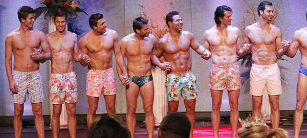 "Contestants (except for the fourth, eighth and 10th from left) wear Vilebrequin swim trunks in an episode of ABC's ""The Bachelorette"" that will appear Monday."