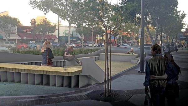 "A rendering of Glendale plans to replace four parking spaces in the 200 block of North Brand Boulevard with a ""parklet."""