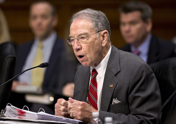 "Sen. Chuck Grassley (R-Iowa)on Capital Hill last month. ""There is no reason, particularly in this first week, at the beginning of the process, to be blocking our amendments with a 60-vote margin,"" said Grassley, who is leading the immigration debate for Republicans."