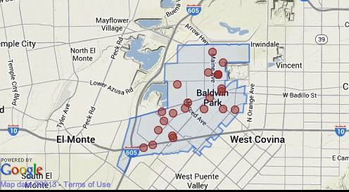 Map shows homicides reported since 2007 in Baldwin Park.