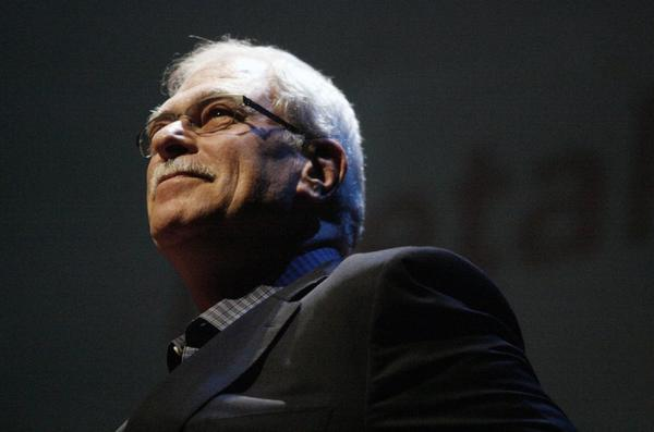 Phil Jackson, legendary NBA Hall of Fame coach of the Los Angeles Lakers and Chicago Bulls, stopped by the Alex Theatre for a question-and-answer and book-signing event.