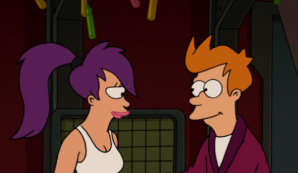 "Leela (Katey Sagal) and Fry (Billy West) get romantic as ""Futurama"" begins its final run of episodes on Comedy Central."