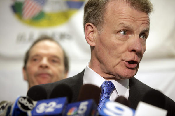 House Speaker Michael Madigan, D-Chicago, talks with reporters after meeting with Gov. Quinn on pension reform on June 10. (Michael Tercha/Chicago Tribune)