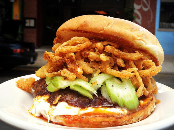 Show your Hawks spirit as you belly up to the Patrick Kane Burger at DMK Burger Bar.