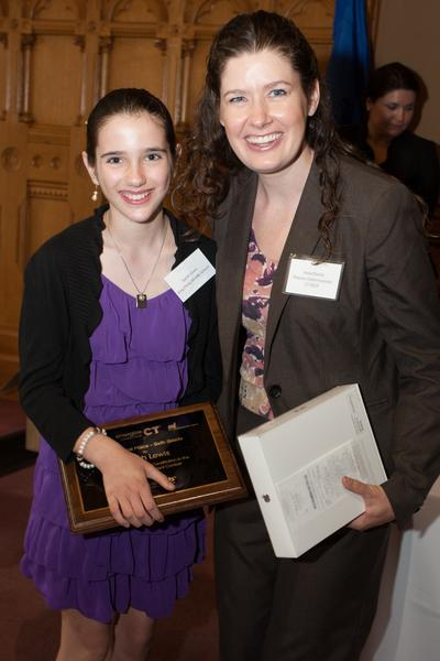 "Sarah Lewis, a sixth grader at King Philip Middle School, won first place in her grade for the ""eesmarts"" contest run by Energize Connecticut. She is pictured with Katie Dykes, deputy commissioner of energy for the state department of energy and environmental protection."