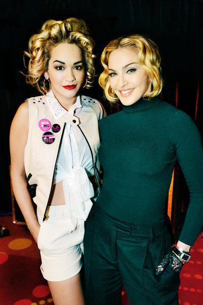 Rita Ora, left, has been named the face of the fall 2013 advertising campaign for Material Girl, the junior lifestyle brand from Madonna, right, and her daughter, Lola.