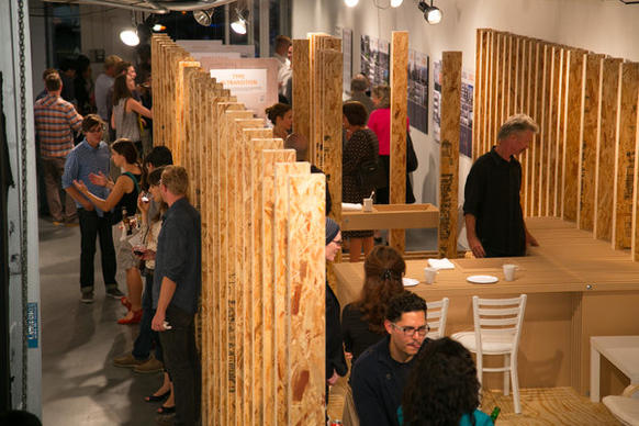The recent opening of two WuHo Gallery exhibitions on small-space living drew crowds to the Hollywood Boulevard space.