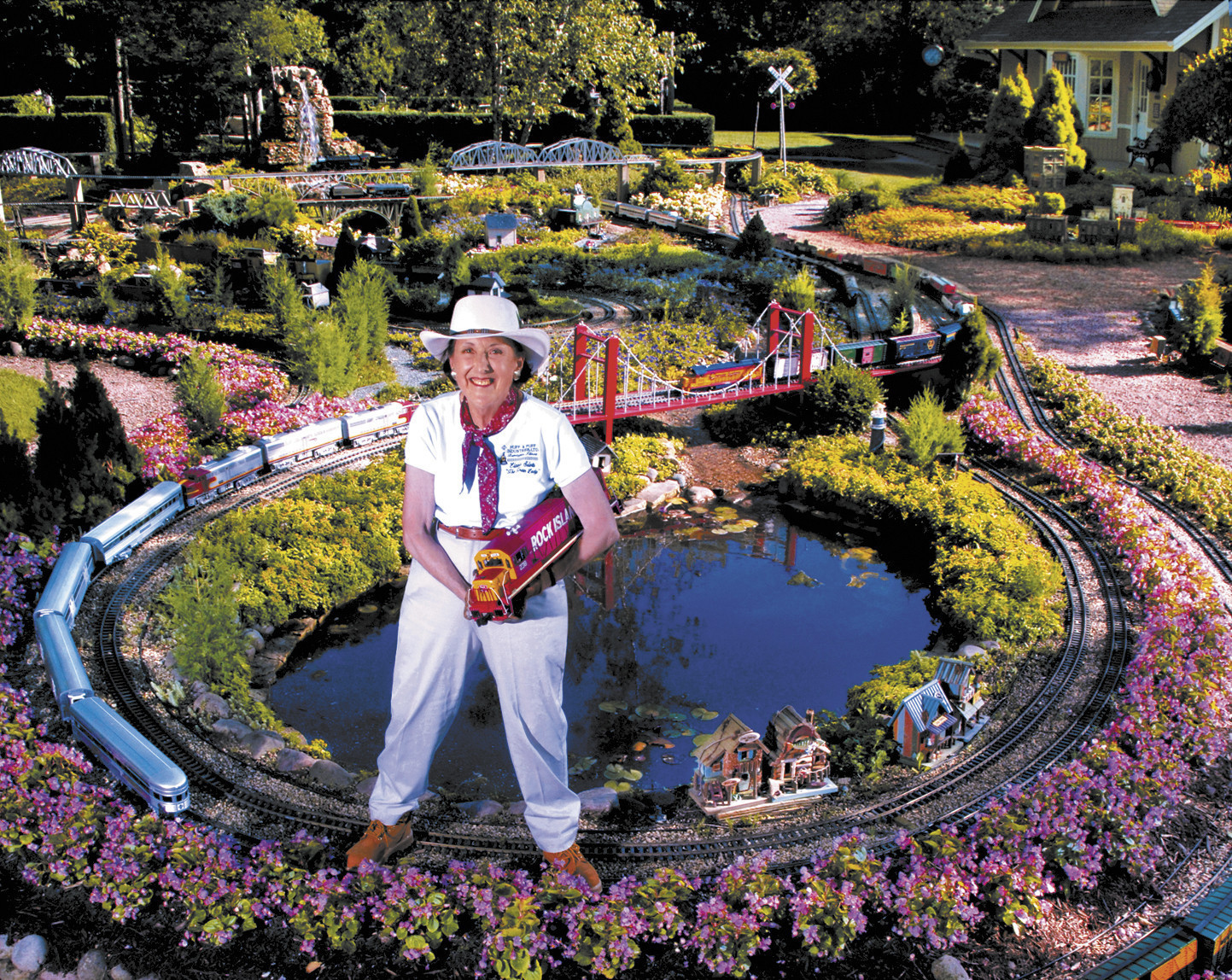 TRAIN LADY OPENS PRIVATE GARDENS AND MODEL RAILROADS FOR ONE DAY